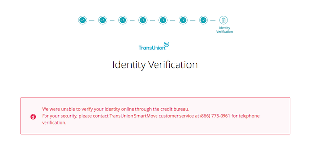 Error message: 'We were unable to verify your identity